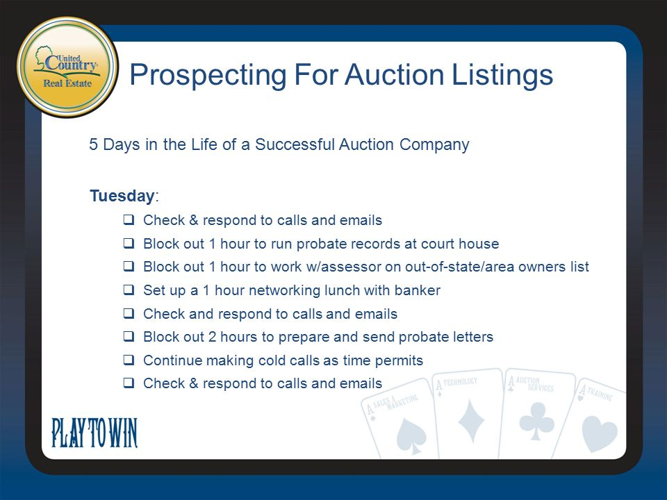 Prospecting For Auction Listings 5 Days in the Life of a Successful Auction Company Tuesday:  Check & respond to calls and emails  Block out 1 hour