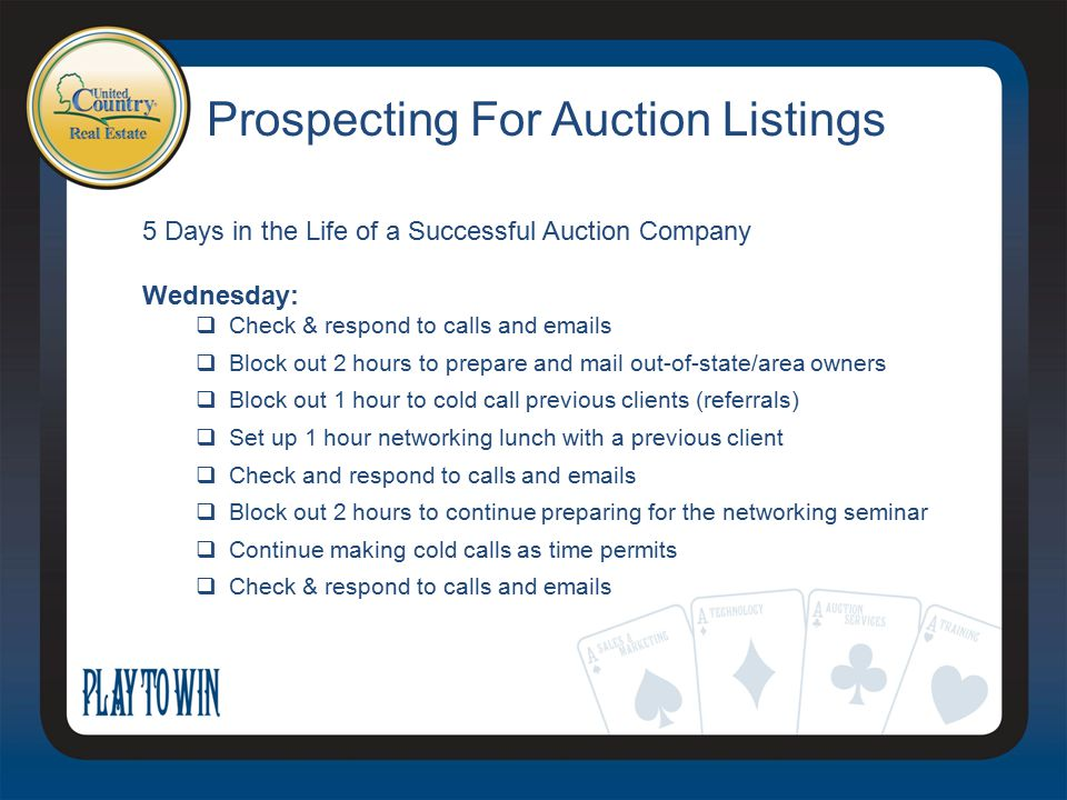 Prospecting For Auction Listings 5 Days in the Life of a Successful Auction Company Wednesday:  Check & respond to calls and emails  Block out 2 hou