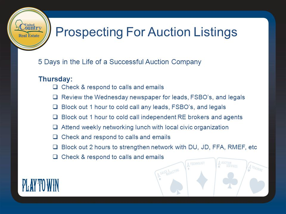 Prospecting For Auction Listings 5 Days in the Life of a Successful Auction Company Thursday:  Check & respond to calls and emails  Review the Wedne