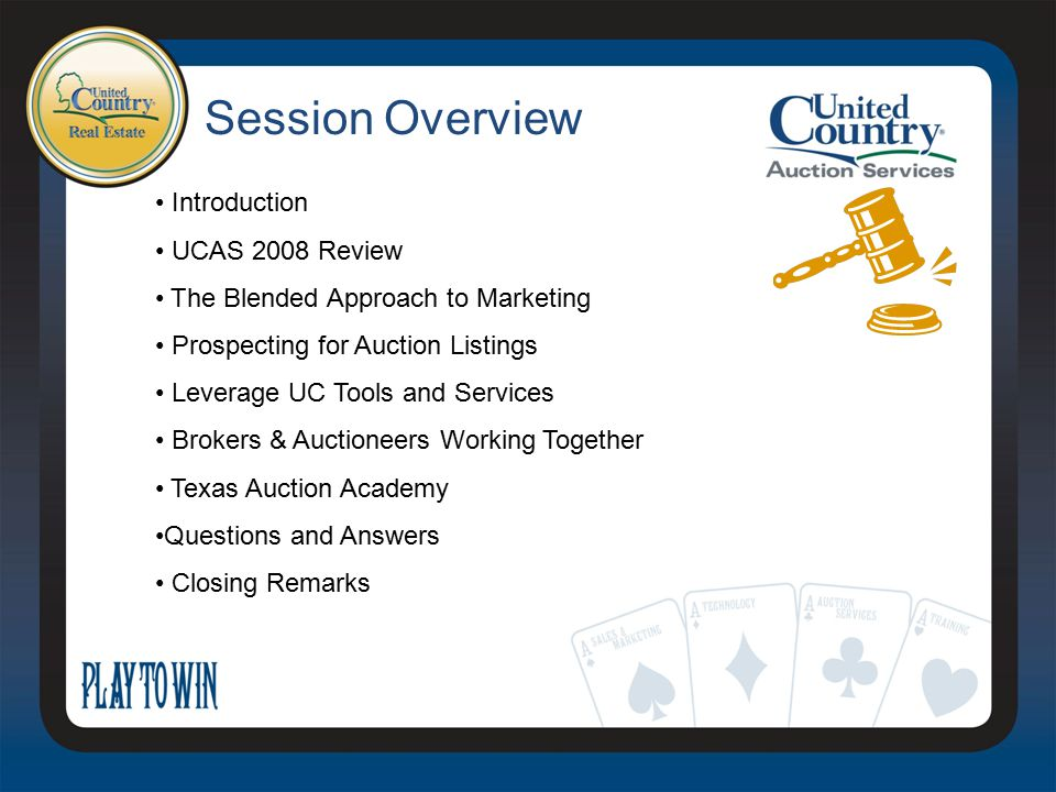 Prospecting For Auction Listings Leverage online broadcasting Networking with UC brokers Networking with other brokers Bankruptcy court & Trustees FSBO's Foreclosure properties Charity events Engage with local FFA chapters, DU chapters, JD dealerships Group Discussion: Share ideas about prospecting