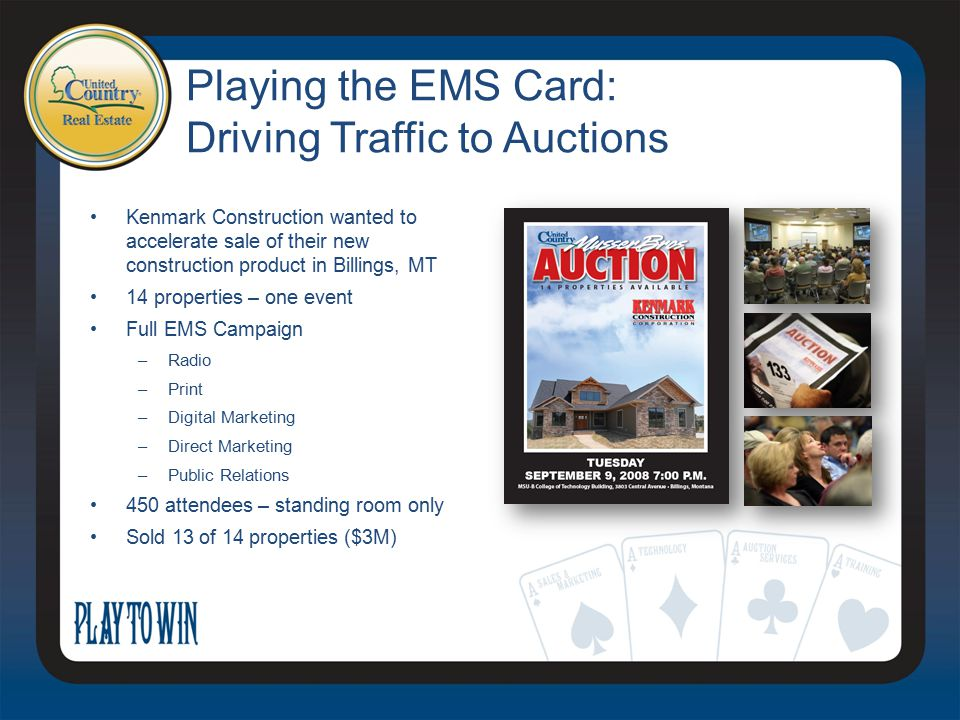 Playing the EMS Card: Driving Traffic to Auctions Kenmark Construction wanted to accelerate sale of their new construction product in Billings, MT 14