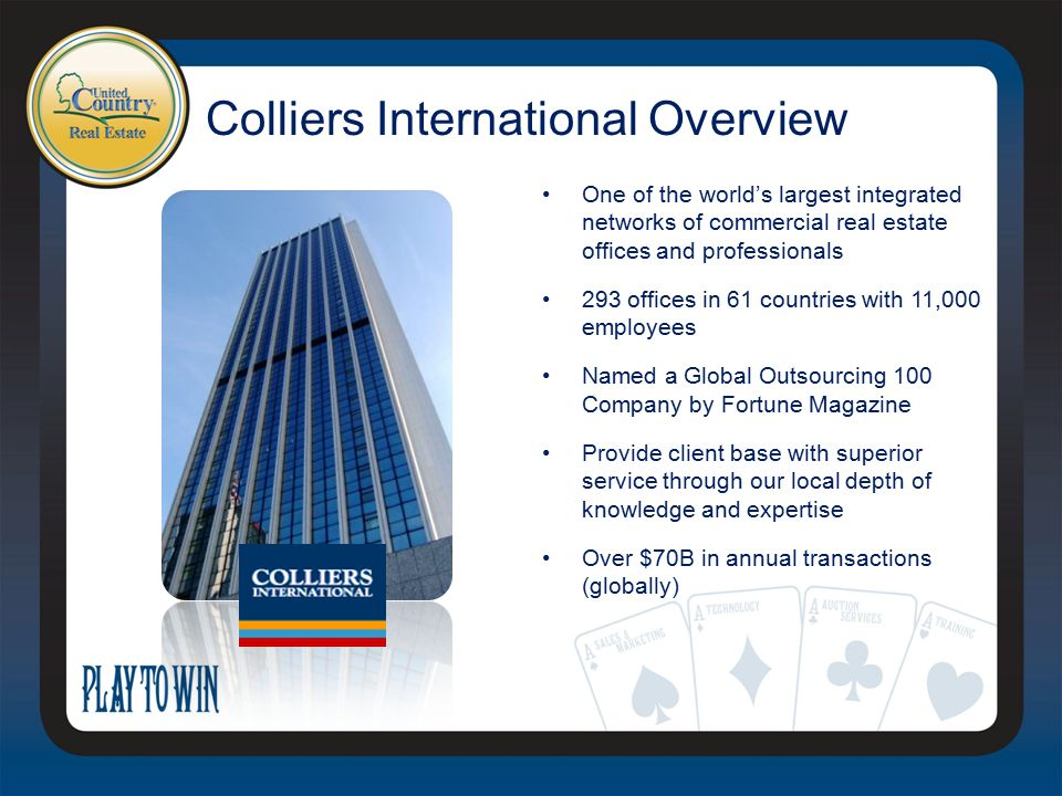 Colliers International Overview One of the world's largest integrated networks of commercial real estate offices and professionals 293 offices in 61 countries with 11,000 employees Named a Global Outsourcing 100 Company by Fortune Magazine Provide client base with superior service through our local depth of knowledge and expertise Over $70B in annual transactions (globally)
