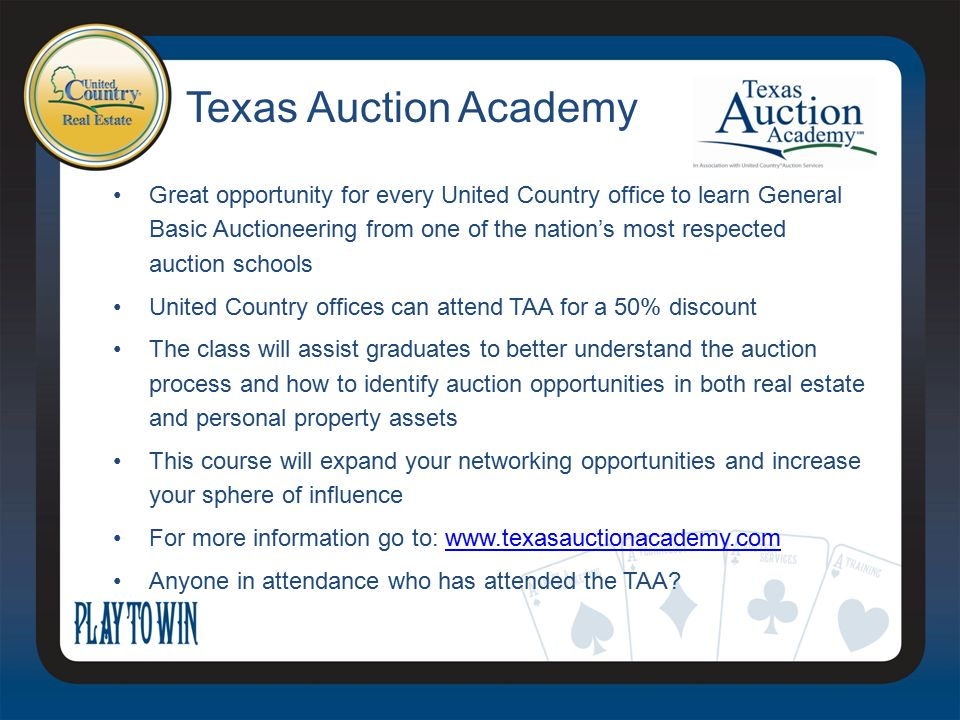 Great opportunity for every United Country office to learn General Basic Auctioneering from one of the nation's most respected auction schools United