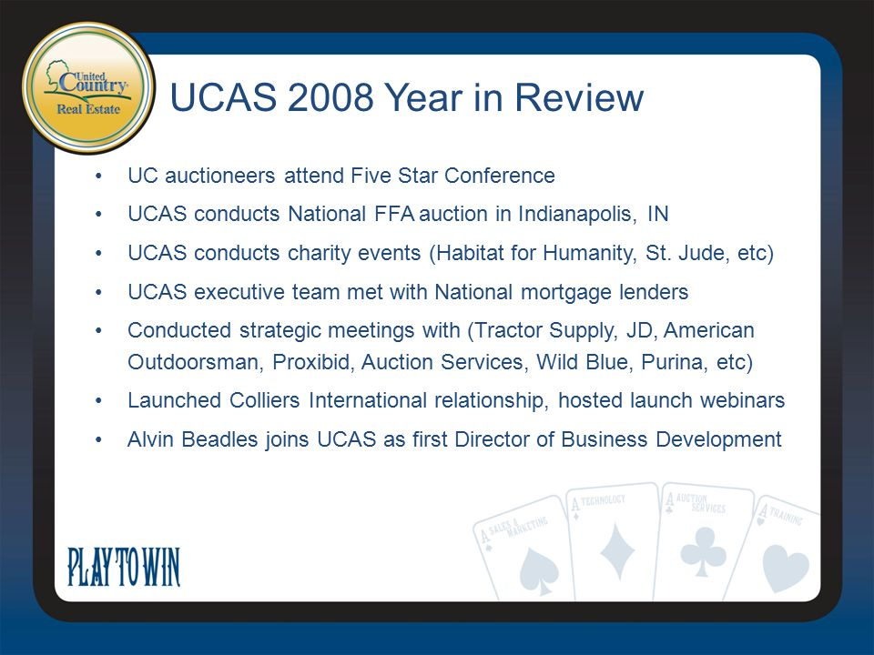 UCAS 2008 Year in Review UC auctioneers attend Five Star Conference UCAS conducts National FFA auction in Indianapolis, IN UCAS conducts charity events (Habitat for Humanity, St.