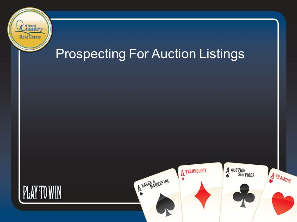 Prospecting 101 & 201 Direct mailing Special Confidentials Out of state owners Out of area owners Business owners Attorneys Bankers CPA's What do sellers want to receive.