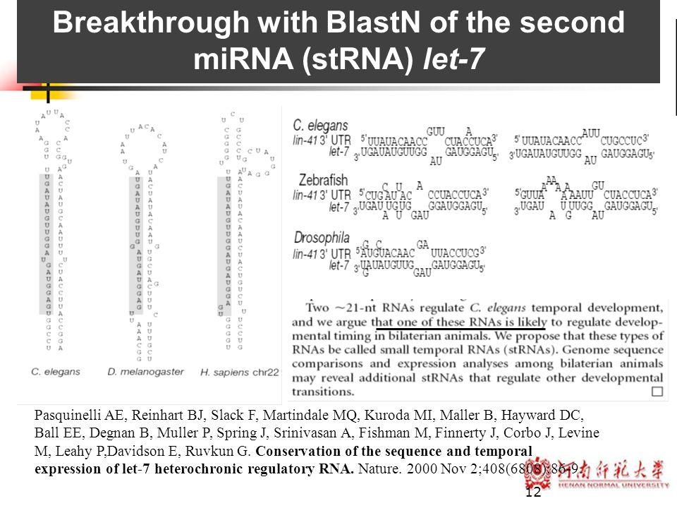 12 Breakthrough with BlastN of the second miRNA (stRNA) let-7 Pasquinelli AE, Reinhart BJ, Slack F, Martindale MQ, Kuroda MI, Maller B, Hayward DC, Ba