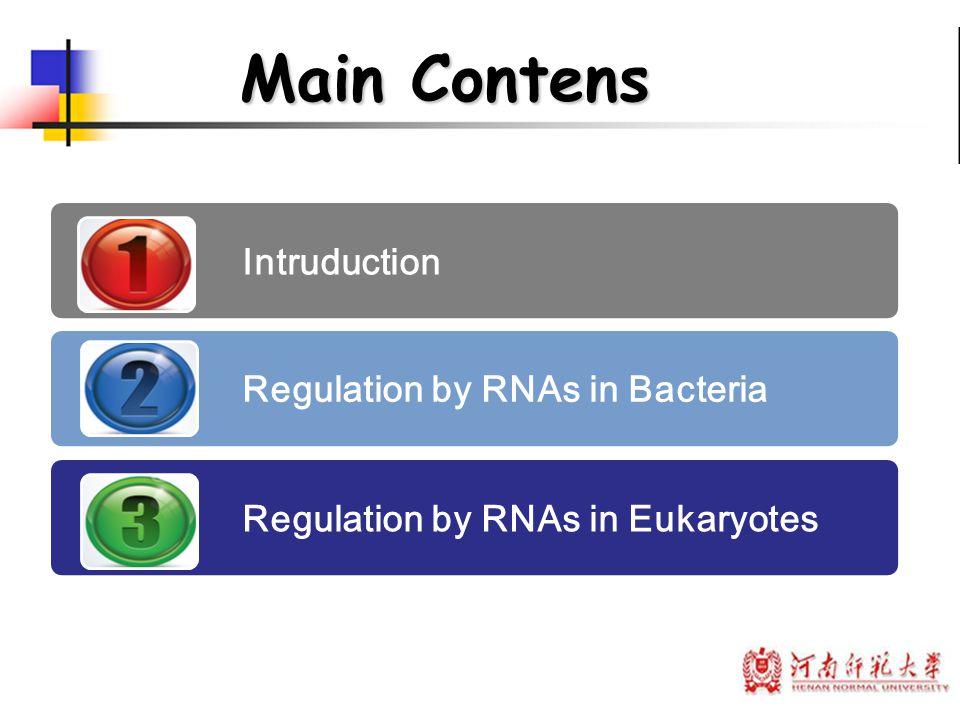 Main Contens Intruduction Regulation by RNAs in Bacteria Regulation by RNAs in Eukaryotes