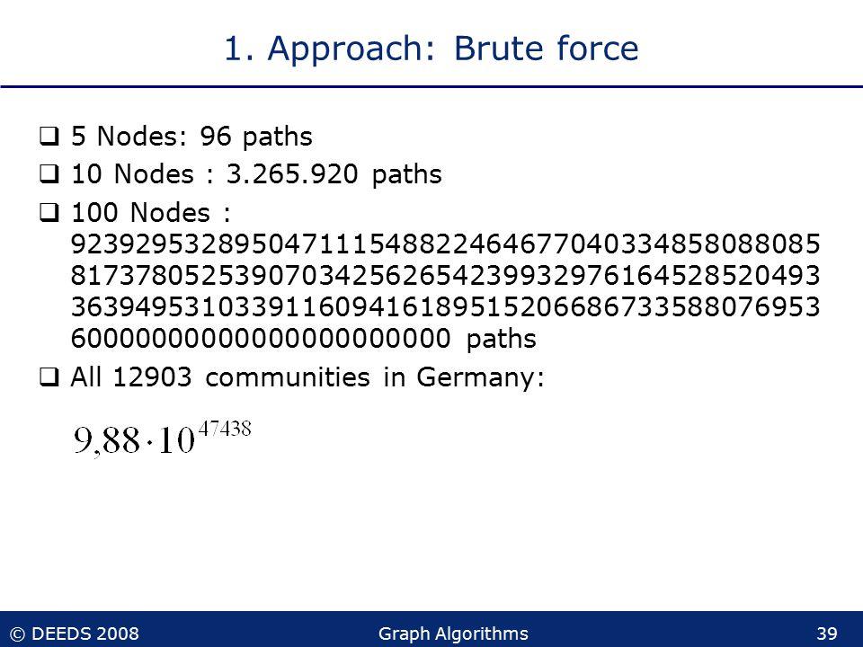 © DEEDS 2008Graph Algorithms39 1.