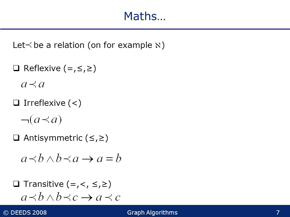 © DEEDS 2008Graph Algorithms7 Maths… Let be a relation (on for example )  Reflexive (=,≤,≥)  Irreflexive (<)  Antisymmetric (≤,≥)  Transitive (=,<, ≤,≥)
