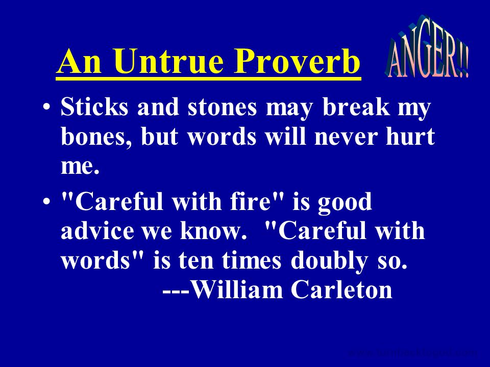 An Untrue Proverb Sticks and stones may break my bones, but words will never hurt me.