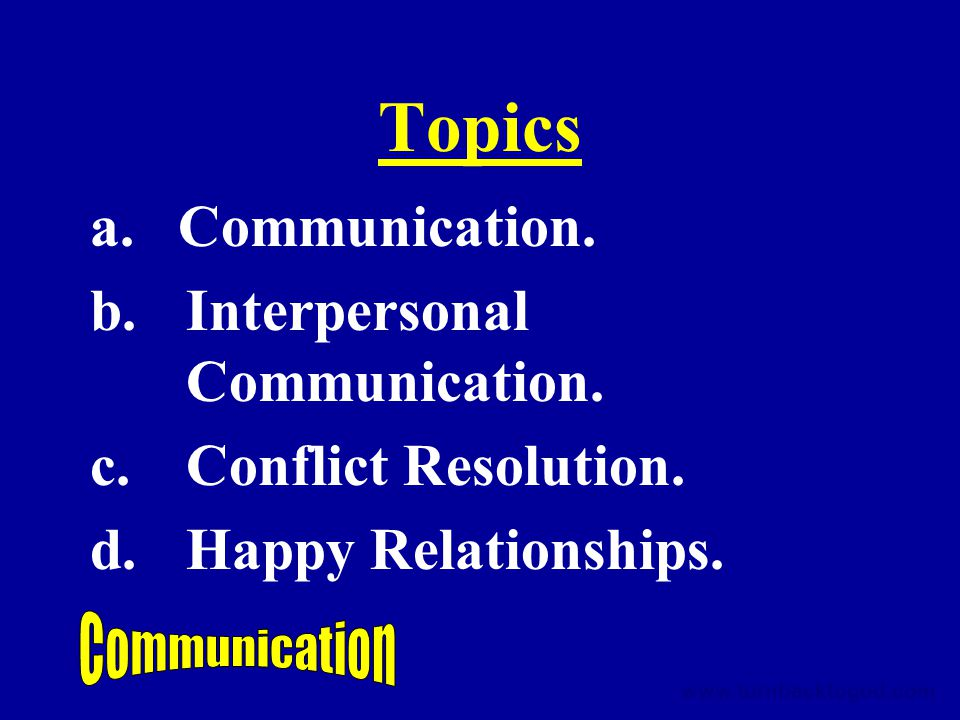 Topics a. Communication. b.Interpersonal Communication.