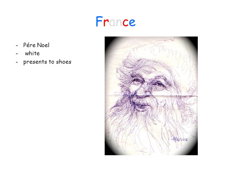 France - Pére Noel - white - presents to shoes