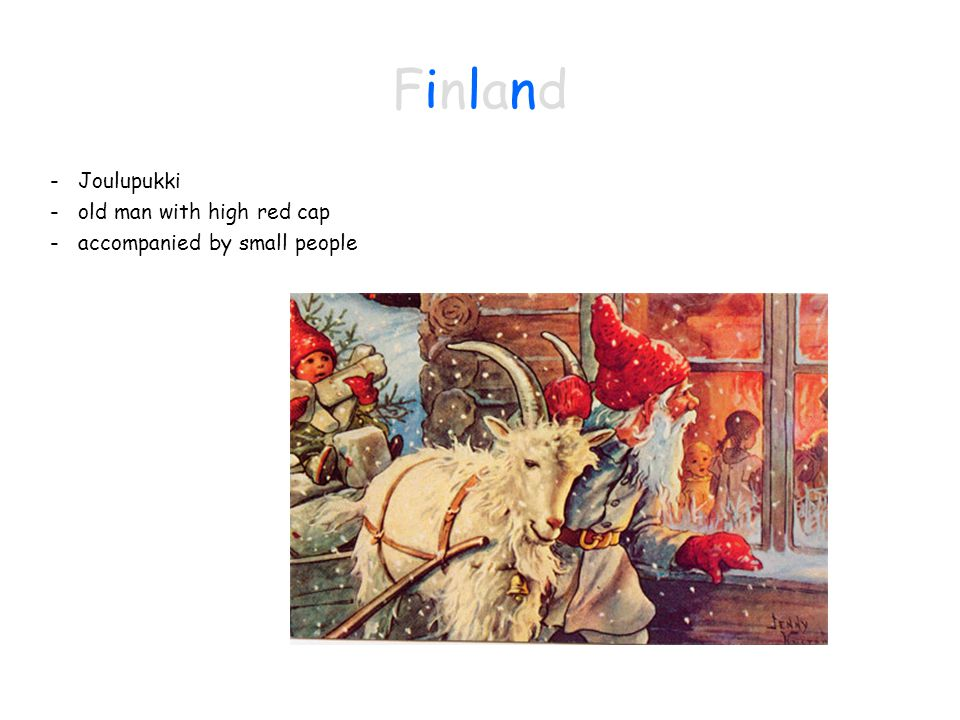 FinlandFinland - Joulupukki - old man with high red cap - accompanied by small people
