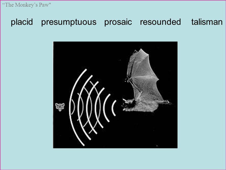 placid presumptuous prosaic resounded talisman