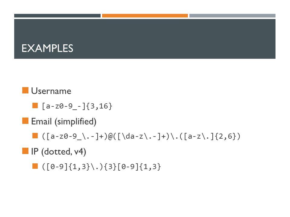EXAMPLES Username [a-z0-9_-]{3,16} Email (simplified) ([a-z0-9_\.-]+)@([\da-z\.-]+)\.([a-z\.]{2,6}) IP (dotted, v4) ([0-9]{1,3}\.){3}[0-9]{1,3}