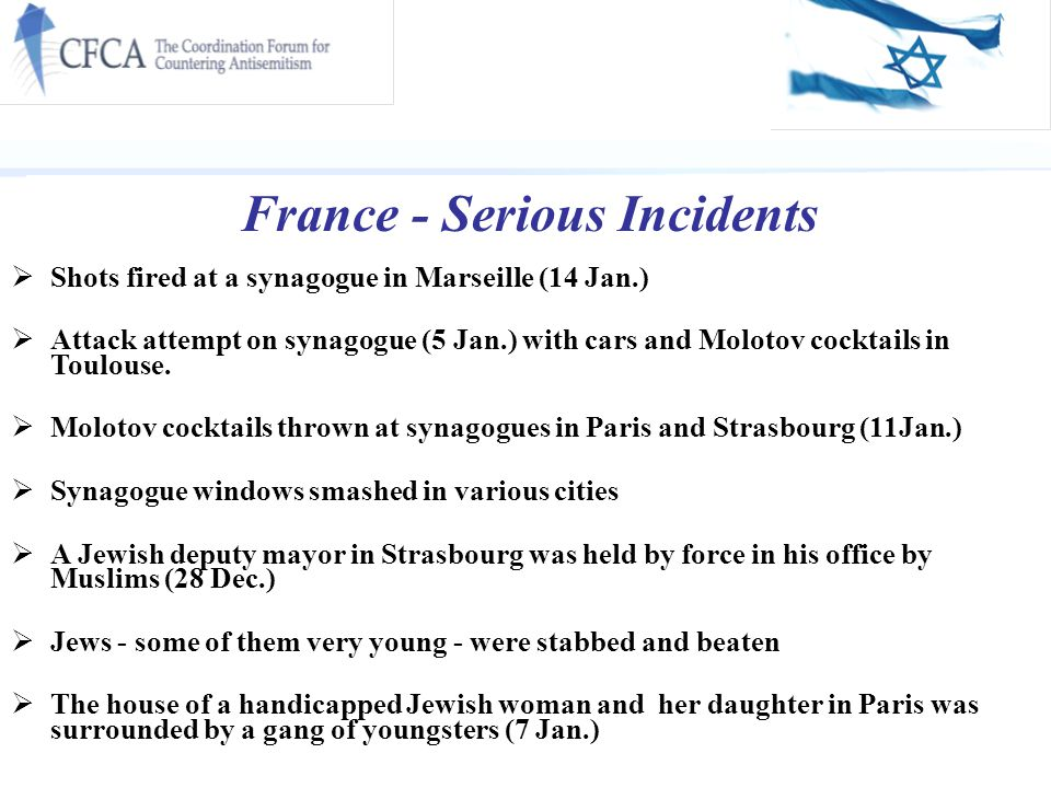 France - Serious Incidents  Shots fired at a synagogue in Marseille (14 Jan.)  Attack attempt on synagogue (5 Jan.) with cars and Molotov cocktails in Toulouse.