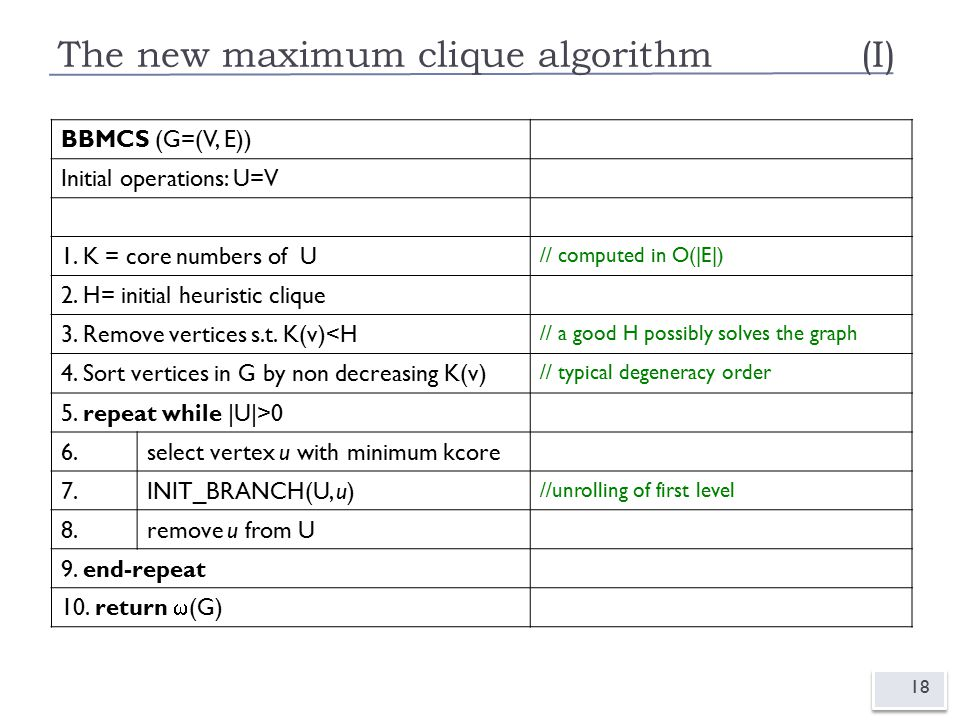 The new maximum clique algorithm(I) 18 BBMCS (G=(V, E)) Initial operations: U=V 1.
