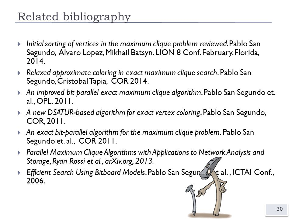 Related bibliography 30  Initial sorting of vertices in the maximum clique problem reviewed.