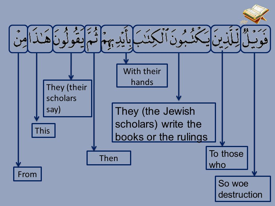 So woe destruction To those who They (the Jewish scholars) write the books or the rulings With their hands Then They (their scholars say) This From