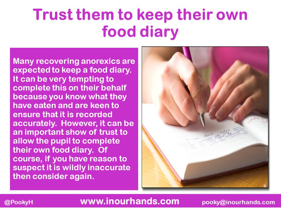 @PookyH www.inourhands.com pooky@inourhands.com Trust them to keep their own food diary Many recovering anorexics are expected to keep a food diary.