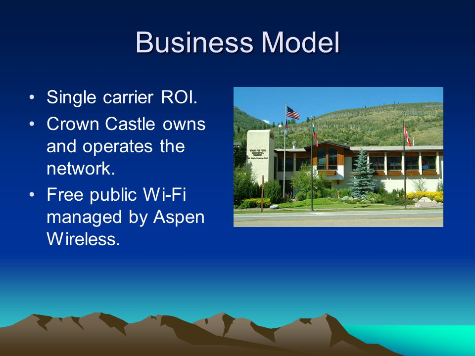 Business Model Single carrier ROI. Crown Castle owns and operates the network.