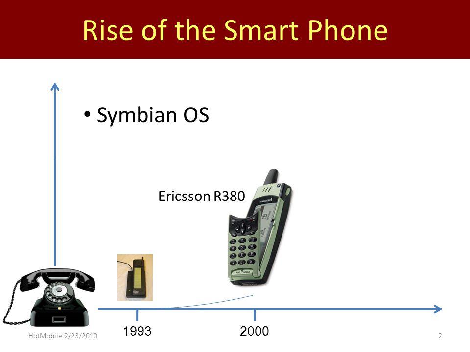 Rise of the Smart Phone 199320002002 Blackberry Windows Pocket PC Treo Treo 180 BlackBerry 5810 HotMobile 2/23/20102