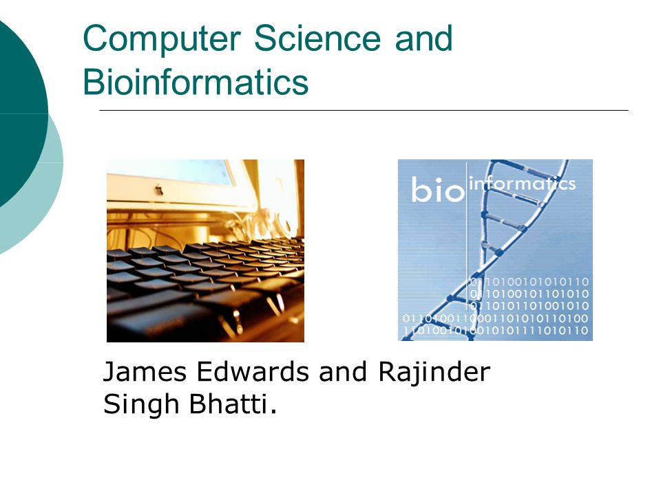 Computer Science and Bioinformatics James Edwards and Rajinder Singh Bhatti. http://www.csee.umbc.edu/~smer1/bioinformatics.gif