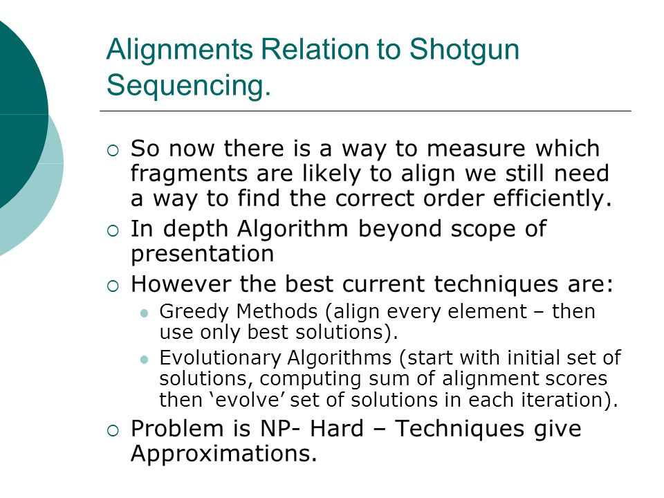 Alignments Relation to Shotgun Sequencing.  So now there is a way to measure which fragments are likely to align we still need a way to find the corr