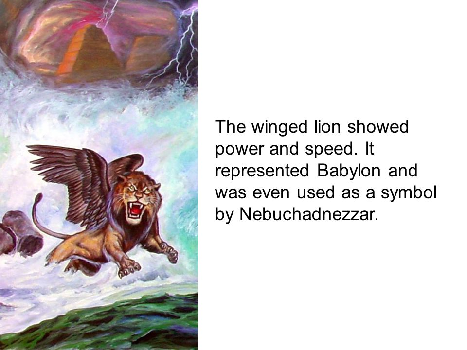 The winged lion showed power and speed.