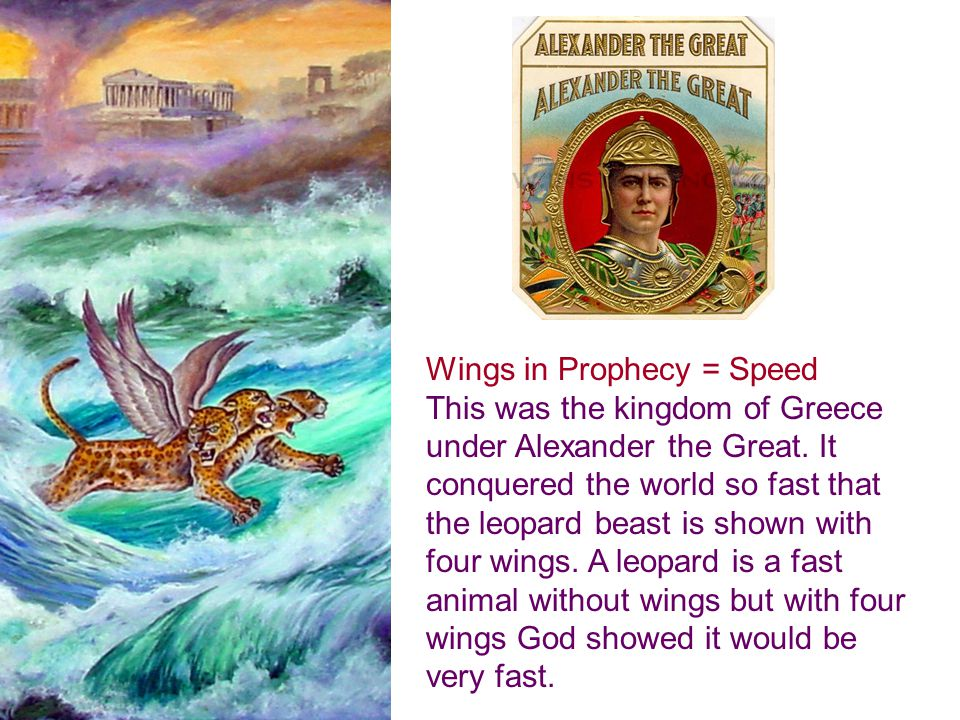 Wings in Prophecy = Speed This was the kingdom of Greece under Alexander the Great.