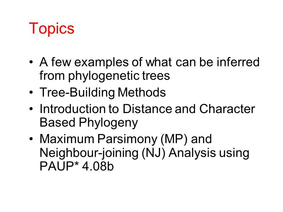 Molecular phylogenetic tree building methods: COMPUTATIONAL METHOD Clustering algorithmOptimality criterion DATA TYPE Characters Distances PARSIMONY MAXIMUM LIKELIHOOD UPGMA NEIGHBOR-JOINING MINIMUM EVOLUTION LEAST SQUARES