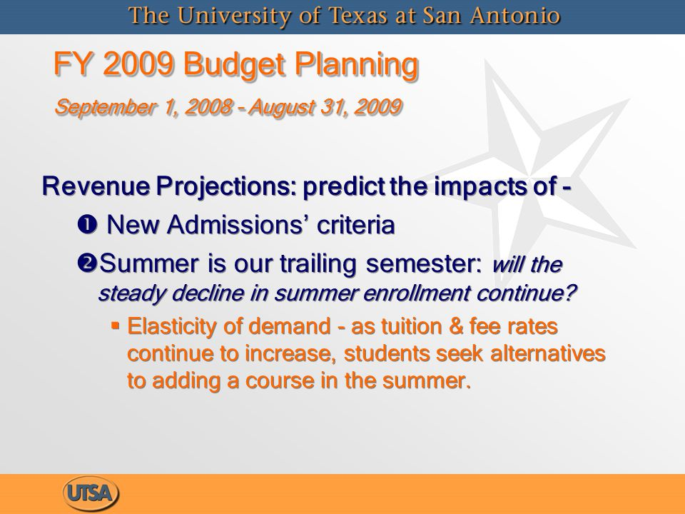 FY 2009 Budget Planning September 1, 2008 – August 31, 2009 FY 2009 Budget Planning September 1, 2008 – August 31, 2009 Requirements   Mandatory Cost Increases   Ed Code required financial aid set asides   New facility openings (E&G space)   Debt Service cost increases over budget   Salary & Wages   3% Merit Awards for Faculty & Staff   Faculty Promotions for Tenure/Rank changes; Staff Equity   Associated Benefit costs unfunded by state   Strategic Initiatives   New Faculty for enrollment growth   New Staff   Other initiatives Requirements   Mandatory Cost Increases   Ed Code required financial aid set asides   New facility openings (E&G space)   Debt Service cost increases over budget   Salary & Wages   3% Merit Awards for Faculty & Staff   Faculty Promotions for Tenure/Rank changes; Staff Equity   Associated Benefit costs unfunded by state   Strategic Initiatives   New Faculty for enrollment growth   New Staff   Other initiatives
