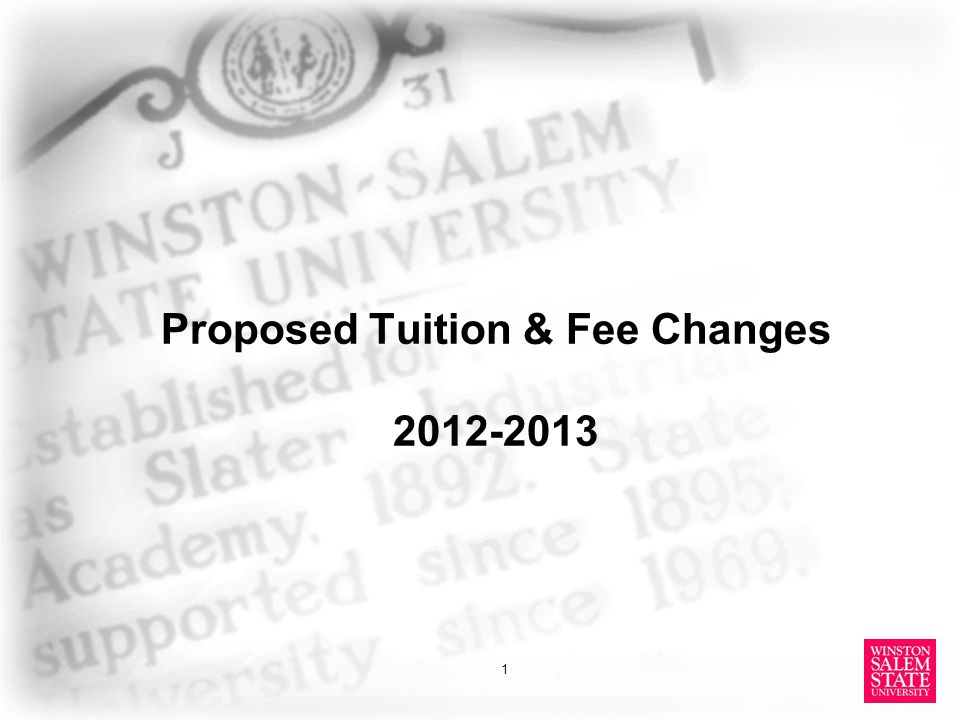 Proposed Tuition & Fee Changes 2012-2013 1