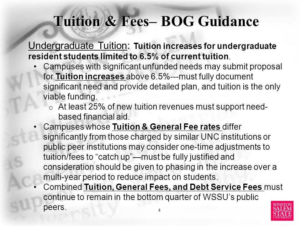 Tuition & Fees– BOG Guidance 4 Undergraduate Tuition: Tuition increases for undergraduate resident students limited to 6.5% of current tuition.