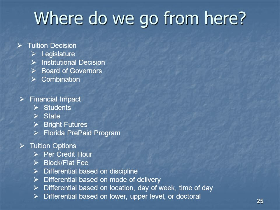 25 Where do we go from here?  Tuition Decision  Legislature  Institutional Decision  Board of Governors  Combination  Financial Impact  Student