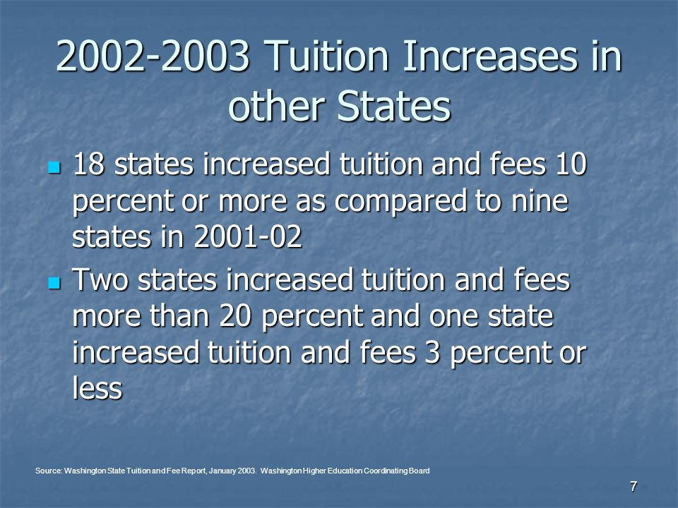 7 2002-2003 Tuition Increases in other States 18 states increased tuition and fees 10 percent or more as compared to nine states in 2001-02 18 states