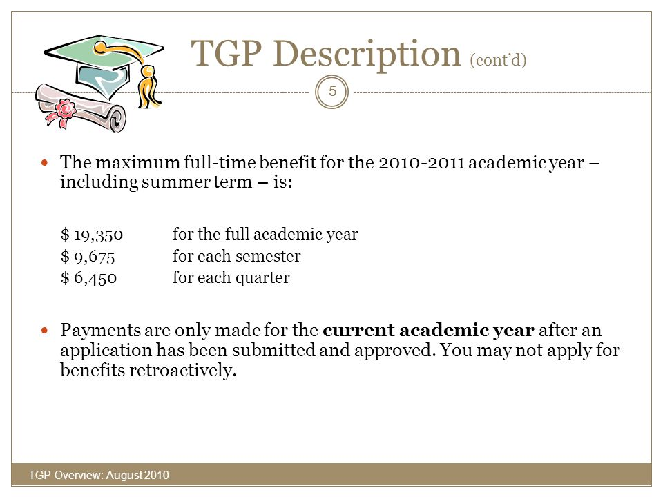 Annual TGP Process TGP Overview: August 2010 6