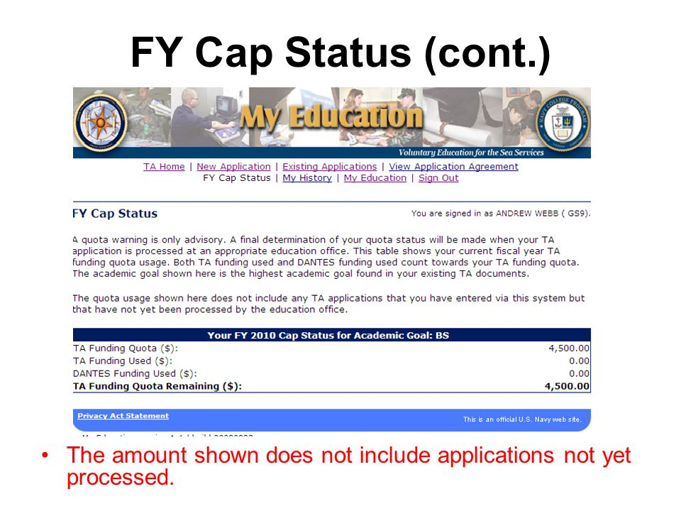 FY Cap Status (cont.) The amount shown does not include applications not yet processed.