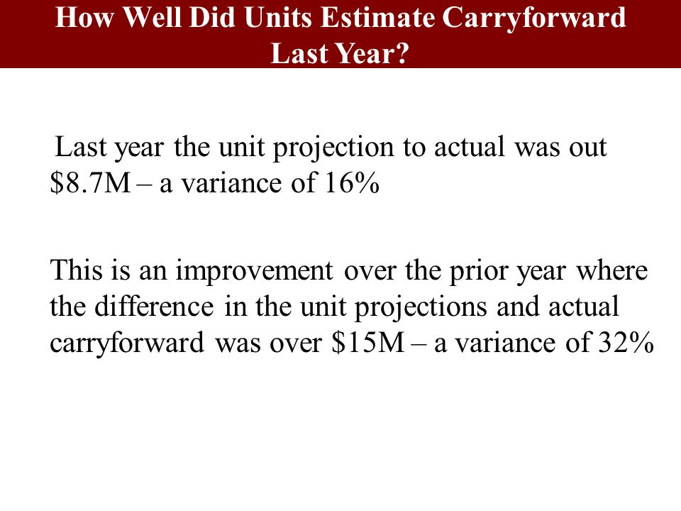 Last year the unit projection to actual was out $8.7M – a variance of 16% This is an improvement over the prior year where the difference in the unit projections and actual carryforward was over $15M – a variance of 32% How Well Did Units Estimate Carryforward Last Year