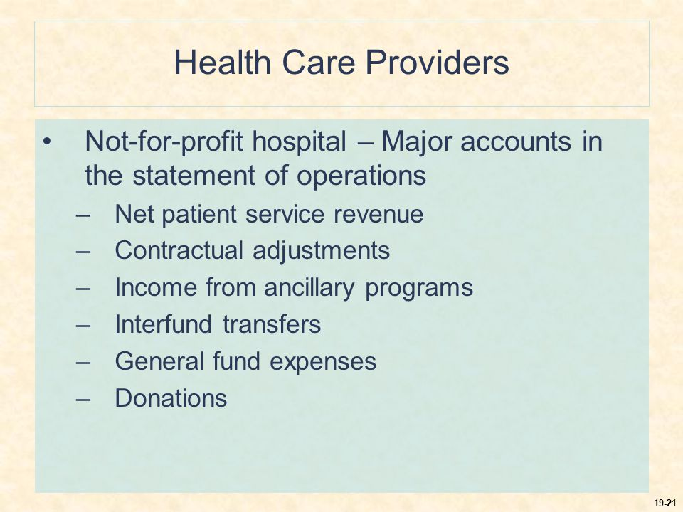 19-21 Health Care Providers Not-for-profit hospital – Major accounts in the statement of operations –Net patient service revenue –Contractual adjustments –Income from ancillary programs –Interfund transfers –General fund expenses –Donations