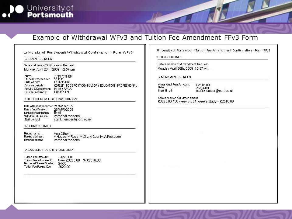 Example of Withdrawal WFv3 and Tuition Fee Amendment FFv3 Form