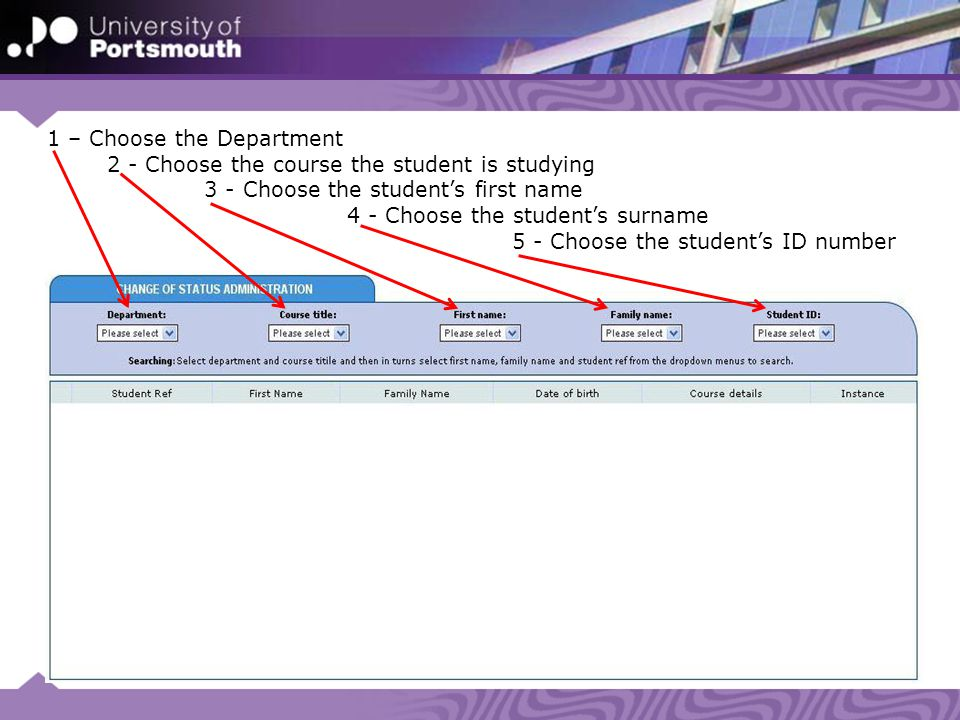 1 – Choose the Department 2 - Choose the course the student is studying 3 - Choose the student's first name 4 - Choose the student's surname 5 - Choose the student's ID number