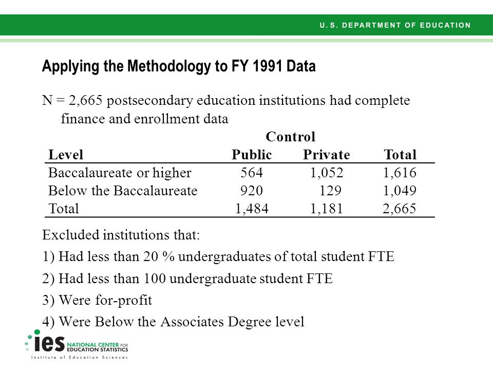 Applying the Methodology to FY 1991 Data N = 2,665 postsecondary education institutions had complete finance and enrollment data Excluded institutions that: 1) Had less than 20 % undergraduates of total student FTE 2) Had less than 100 undergraduate student FTE 3) Were for-profit 4) Were Below the Associates Degree level Control LevelPublicPrivateTotal Baccalaureate or higher5641,0521,616 Below the Baccalaureate920 1291,049 Total1,4841,1812,665
