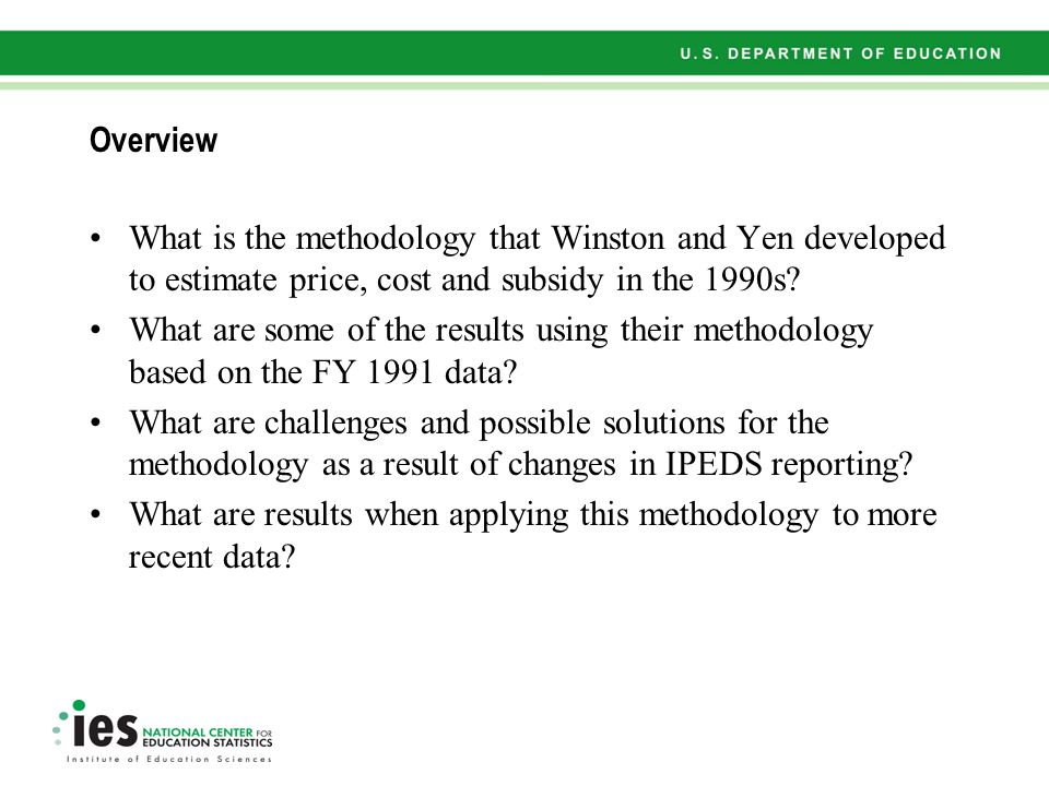 Overview What is the methodology that Winston and Yen developed to estimate price, cost and subsidy in the 1990s?