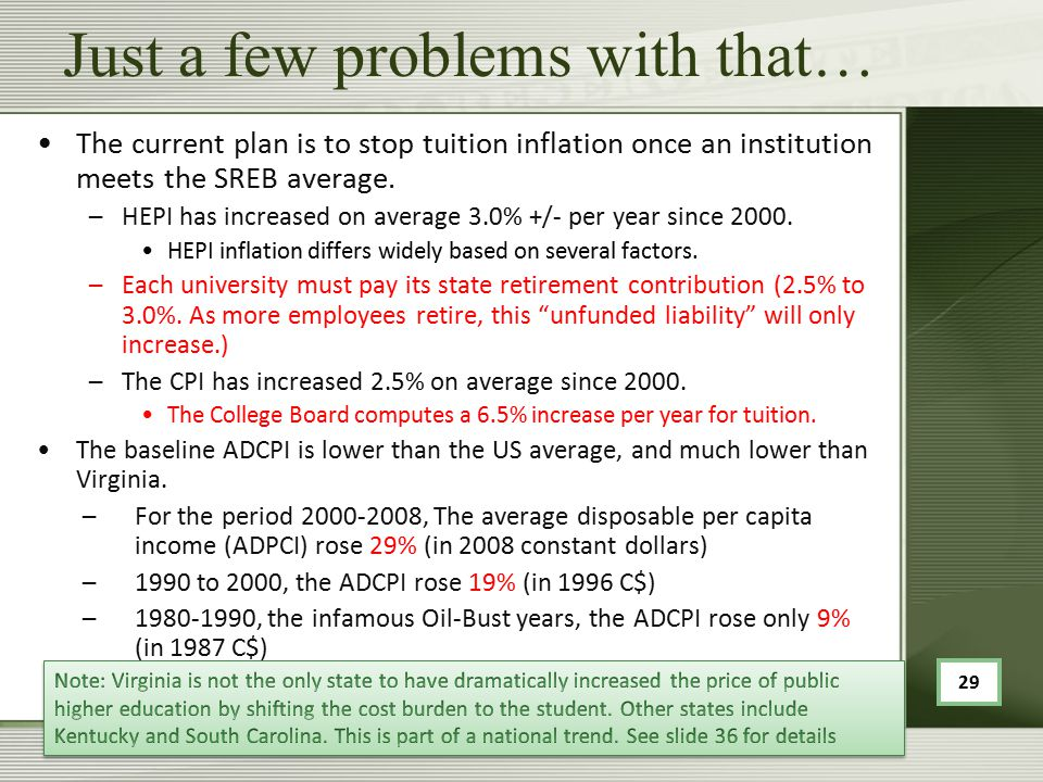 Just a few problems with that… The current plan is to stop tuition inflation once an institution meets the SREB average.