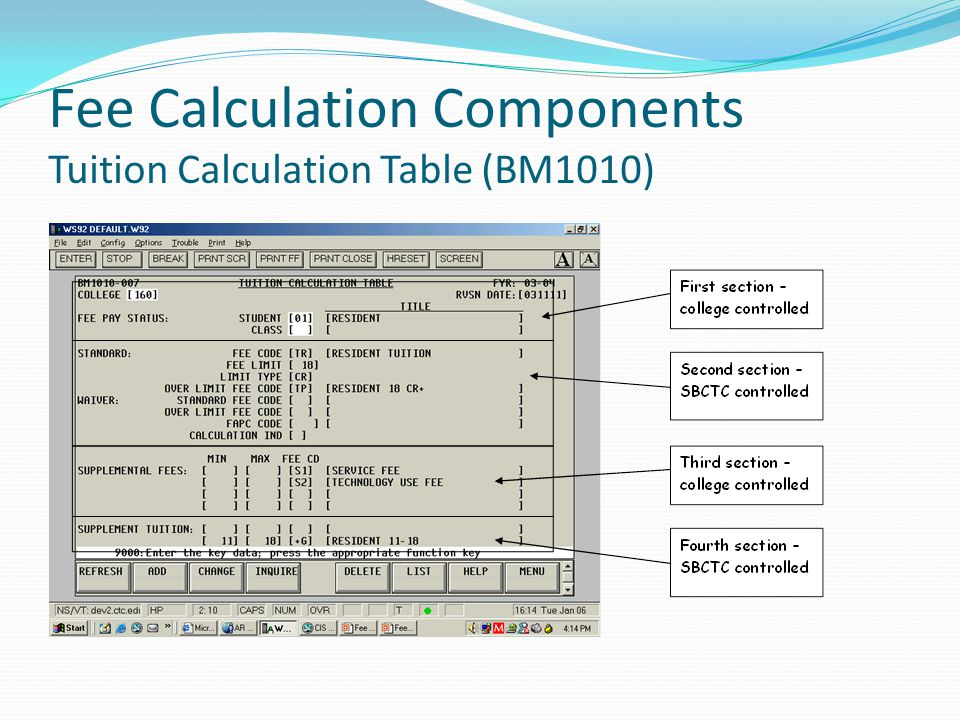 Fee Calculation Components Tuition Calculation Table (BM1010)
