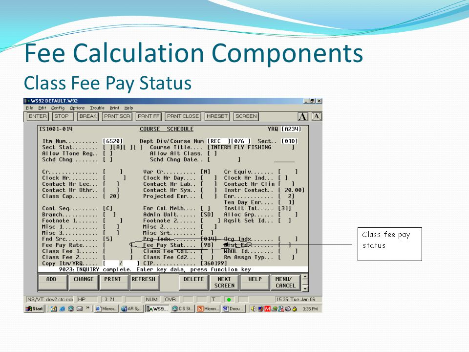 Fee Calculation Components Class Fee Pay Status