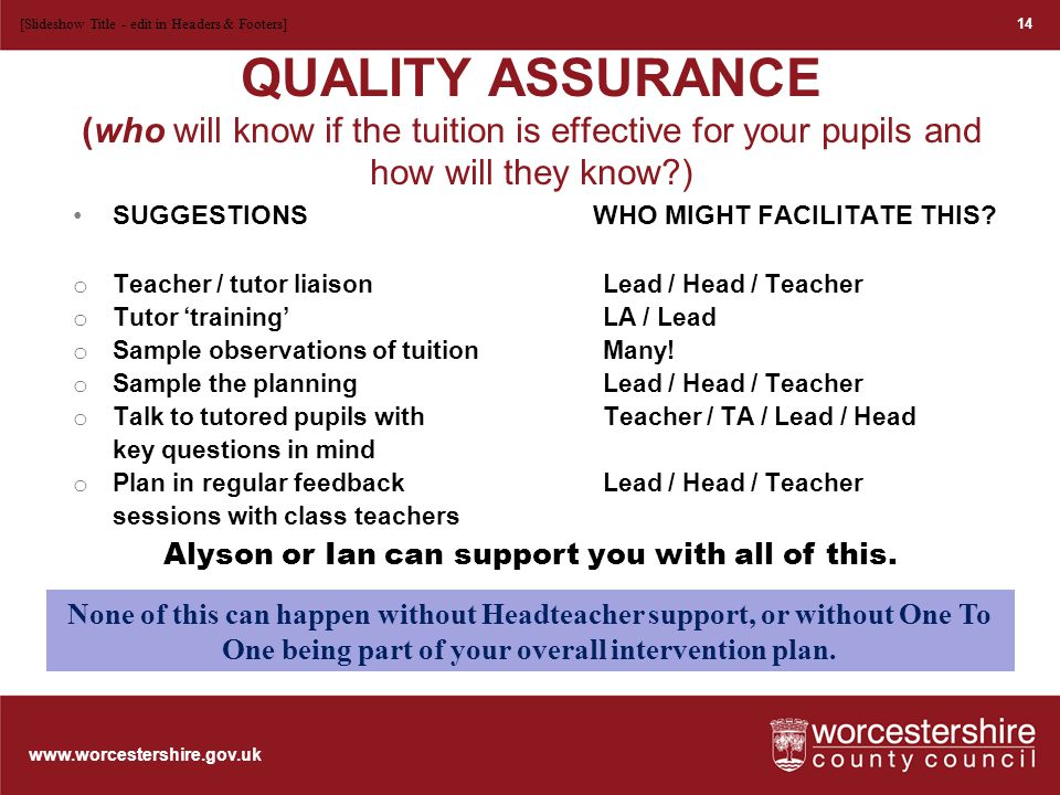www.worcestershire.gov.uk QUALITY ASSURANCE (who will know if the tuition is effective for your pupils and how will they know ) SUGGESTIONS WHO MIGHT FACILITATE THIS.