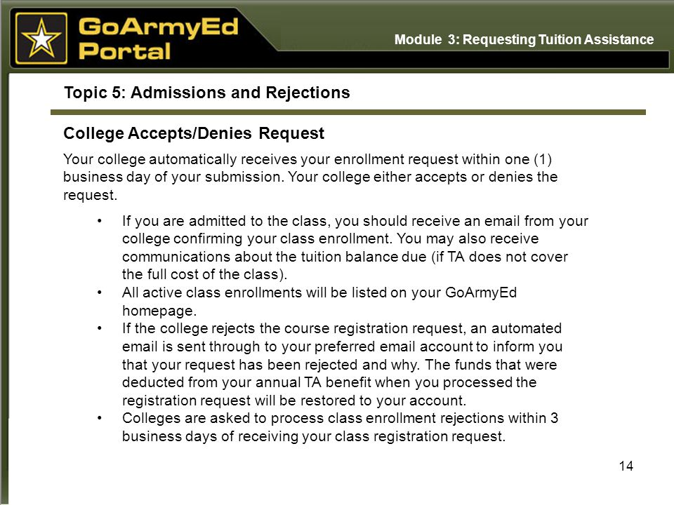 14 Topic 5: Admissions and Rejections College Accepts/Denies Request Your college automatically receives your enrollment request within one (1) business day of your submission.
