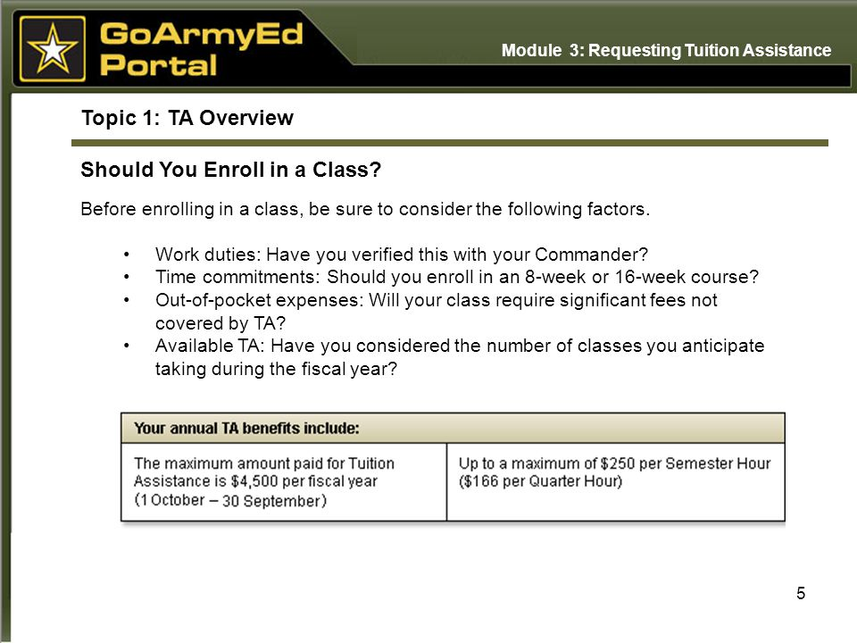 5 Topic 1: TA Overview Should You Enroll in a Class.